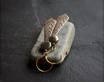 ON SALE Grey Pyrite, Etched Brass Dangle Earrings - Oxidized Brown Patina, Textured Gold Chevron, Arrow Point, Boho Stone Jewellery