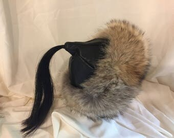 Beautiful Mongolian, Russian, Cossack, Norse, Celtic, Viking hat black leather with coyote fur