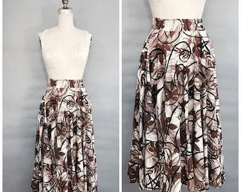 1960s brown full circle skirt