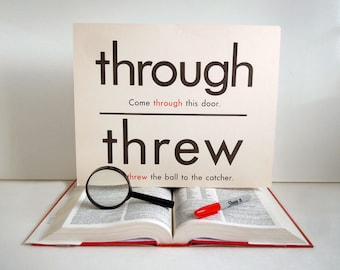 Vintage Giant Through Threw Hour Our Word Flashcard | 11x14 Homonym Poster | Home Decor