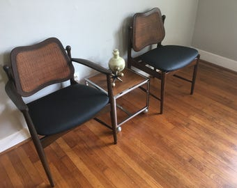 Pair of 1960s Vintage Desk Chairs Mid Century, Retro, Caned, Danish Modern