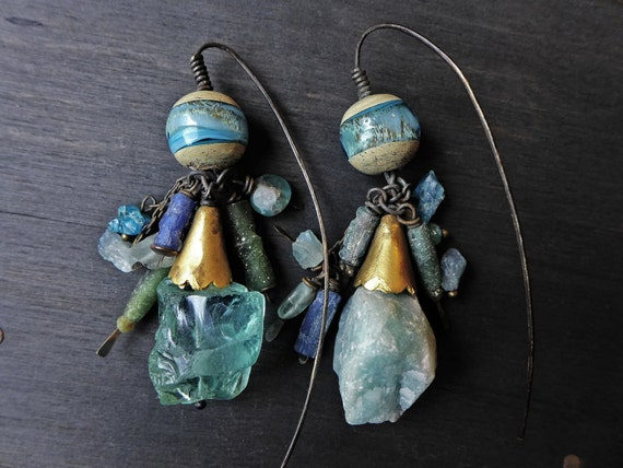 "Ancient Roman blue glass earrings - ""Light is in Both"""