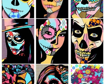 Day Of The Dead printable art collage sheet skeletons skull graphics digital download images printable art dia de los muertos printables