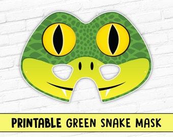 Green Snake Printable Mask   Printable Mask   Halloween Mask   Photo Prop