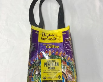 Fun Eco Friendly Purse made with Recycled higher grounds Coffee bags upcycled repurposed