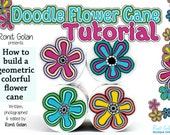 Doodle Flower Cane Tutorial eBook plus instructions - how to build a geometric colorful flower cane plus tips by Ronit Golan