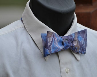 Cerulean Blue Marbled Man's Bow Tie for All Occasions Asheville NC MM-#15-27