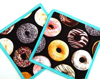 Donut Fabric Quilted Pot Holders - Cute Junk Food Hot Pads