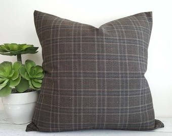 Brown Grey Plaid Pillow Covers, Brown Wool Pillows, Wool Plaid Pillows, Plaid Cushion Cover, Mens Decor Gift, Lodge Decor 12x18, 18x18