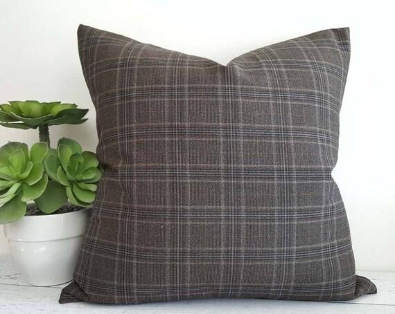 brown grey plaid pillow covers brown wool pillows tartan. Black Bedroom Furniture Sets. Home Design Ideas