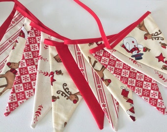 Scandinavian Style Christmas Bunting  with Reindeer - 12 flag Fabric Garland Banner