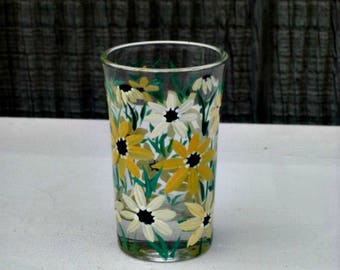 Toothpick Holder, Shot Glass ,Hand Painted Glass, Glass Toothpick Holder, Table Decoration, Hand Painted Shades of Yellow Flowers, Bar Glass