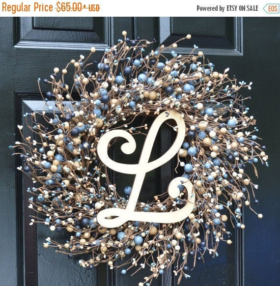 SPRING WREATH SALE New Year Round Berry Wreath, Berry Monogram Wreath, Shabby Chic Decor, New England Decor, Blue and Tan Wreath, Rustic Dec
