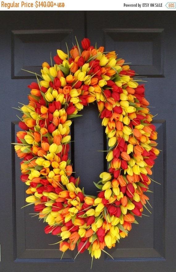 SPRING WREATH SALE 28 inch Spring Wreath- Door Wreath- Mother's Day Wreath- Spring Decor-Wedding wreath- Oval Wreath