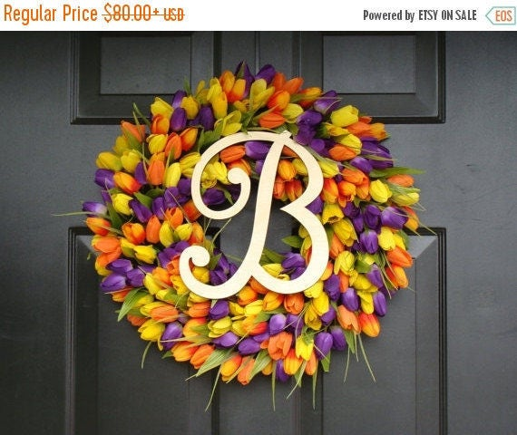 SPRING WREATH SALE Initial Letter Tulip Wreath- Tulip Monogram Spring Wreath Custom Colors and Sizes- Monogram Wreath- Original Tulip Wreath