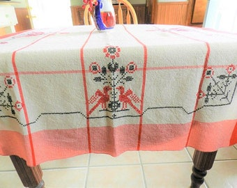 Red Tablecloth, Embroidered Tablecloth, Bird tablecloth, 1950s Tablecloth, Penn Dutch Tablecloth, Cottage Tablecloth