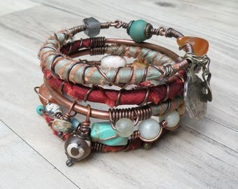 Silk Road Gypsy Bangle Stack - Bangladesh - 5 Boho Tribal Bracelets, Silk Wrapped, Festive
