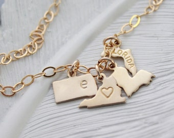 Charm Bracelet, State Charm Bracelet, Gold State Bracelet, Personalized State Charm Bracelet, Going Away Gift, Gifts For Her, 50 States