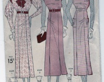 1930s Simplicity 1209 Dress Pattern Size 16