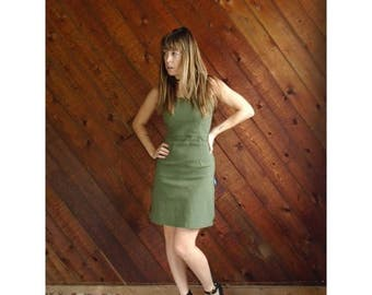 25% off Flash Sale . . . Green Woven French Mini Bodycon Dress - Vintage 90s - S