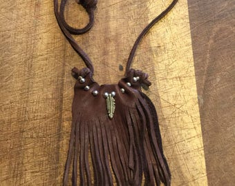 mini leather statement necklace