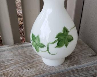 Hand-painted  Milk Glass Hurricane Lamp Shade