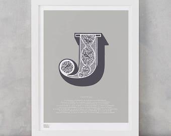 Illustrated Letter J, Letter J, Alphabet Letters, Illustrated Letters, Illustrated J, Alphabet Wall Posters