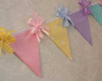 Pretty rainbow banner mini bunting with ribbon trims perfect for baby shower nursery photo prop for shoot made to order