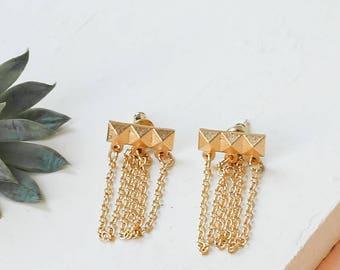 On Sale 20% Off, Long Fame Earrings, Chain Ear Jacket, Chain Ear Studs, Chain Drop Earrings, Triple Chain Earrings
