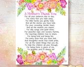 SALE Teacher appreciation print, Printable Teacher Gift, Childcare teachers gift, Digital download, Teacher gift, A mothers thank you poem