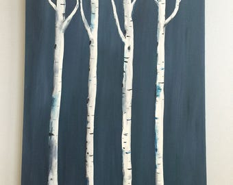 Birch Trees,  24 x 30, Original Tree Painting on Gallery Wrapped Canvas, Ready to hang
