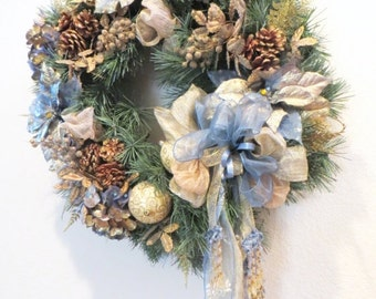 SALE Christmas or Holiday Victorian Wreath Home Decor in Smoky Blue, Beige, Light Gold, thick Blue Spruce with Elegand Detailed Beaded Fring