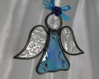 Sea Lover Blue Turquoise Angel Stained Glass Ornament or Suncatcher with Irridized Wings