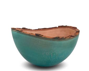 Blue Sycamore Wood Bowl - Handmade Wood Bowl - Blue - Mothers Day Sale