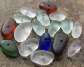 Drilled BEACH GLASS Beads Sea Glass Beads Multi Color
