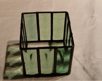 Leaded glass Stained glass Candle holder Votive holder Green Bevels