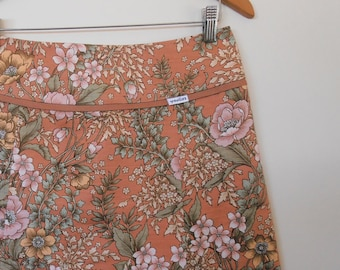 botanical in terracotta and mint green...vintage fabric A line skirt with yoke waistband