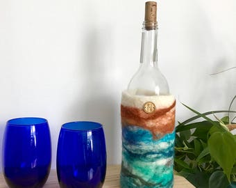 Wool Wine Sleeve | Felted Wine Bottle Holder | Insulated Wine Caddy | Picnic Wine Holder | Wine Cooler