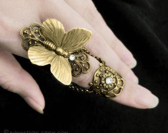 Fairy's Touch - Brass Butterfly Armor Ring, Butterfly Jewelry, Fantasy Jewelry, Butterfly Ring, Steampunk Ring, Armour Ring, Finger Armor