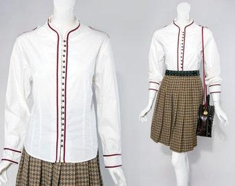 90s Andrea Jovine white military inspired epaulette shoulder detail shirt | size large