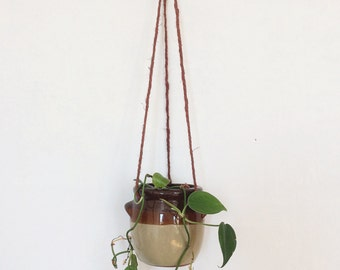 Vintage Stoneware Crock Hanging Planter 70's