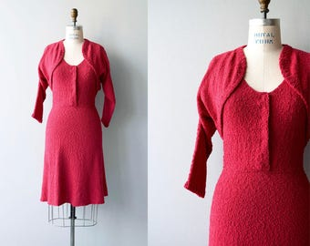 Rouge Coeur knit dress | vintage 1950s knit dress | boucle knit 50s dress and jacket