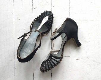 Vendome t-strap shoes | vintage 1930s shoes | deco 30s t-strap heels 6