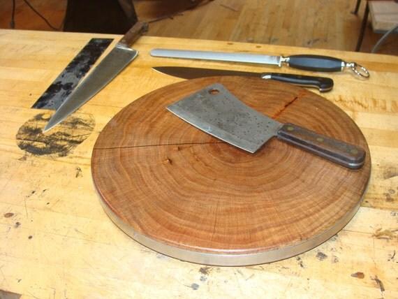"End Grain Mesquite Wood Round Cutting Board 16"" x 1.25"""