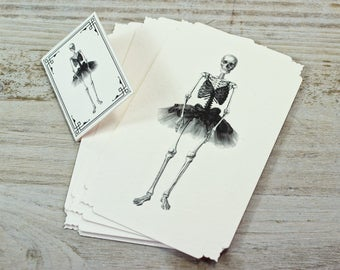 "Note Cards - Skeleton Ballerina - Ballet - Dance - Goth - Italian Paper - Die Cut Cards - W 2.75"" x H 4.52"" - Set of 12 Note Cards"