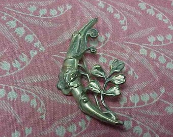 Vintage Art Deco Brass Crescent moon with vines Brooch pin