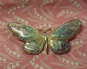 Vintage Butterfly Gold tone and Confetti Wing Rhinestone eyes Brooch pin