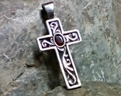 Sterling Silver Cross - Garnet Gemstone - Christian Cross - Religious Jewelry - Renaissance Style Cross - Sale