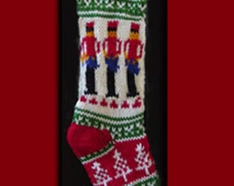 Hand knit Christmas stocking,  Personalized, made of pure wool yarn,  fully lined -- drummer
