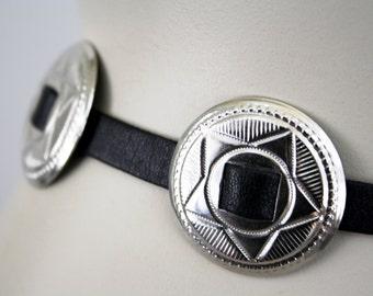 Black Leather Thin Soft Tie Front Concho Western Vintage Unisex Belt